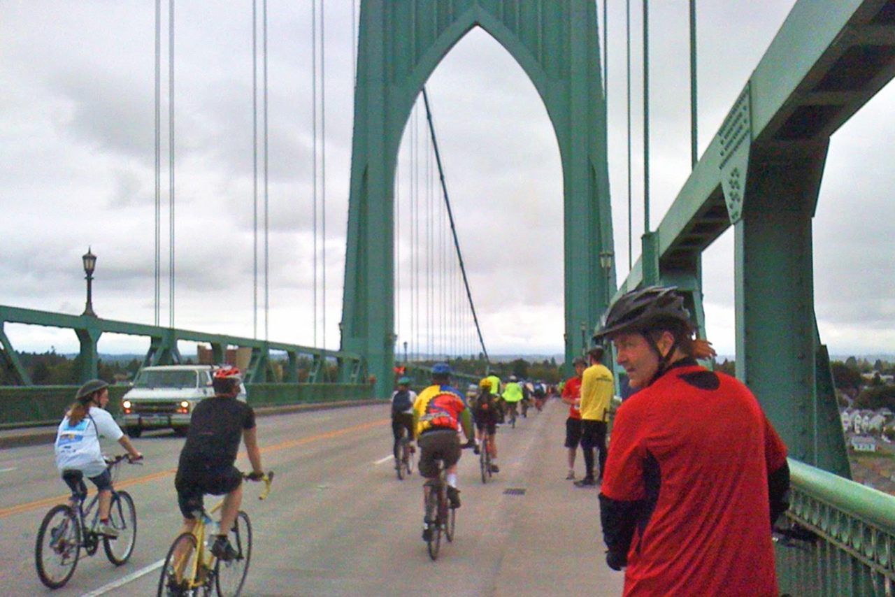 Cyclists on bridge